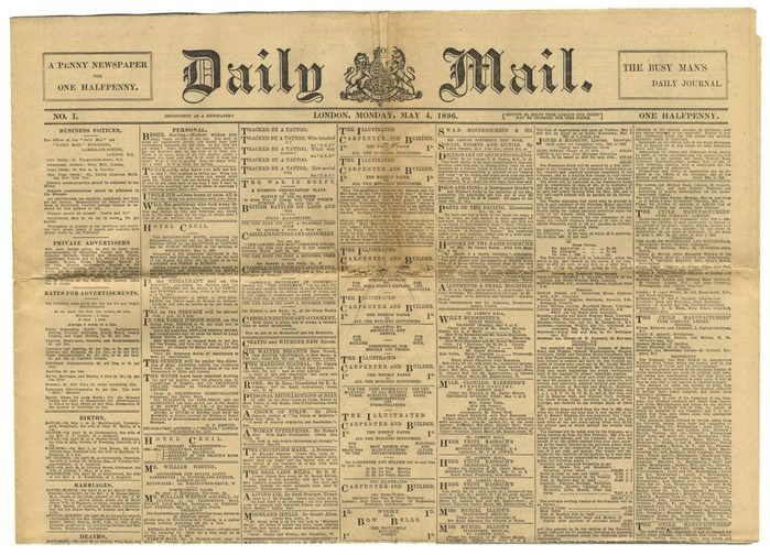 Mandatory Credit: Photo by Shutterstock (622399h) Daily Mail - 04 May 1896 Old newspapers