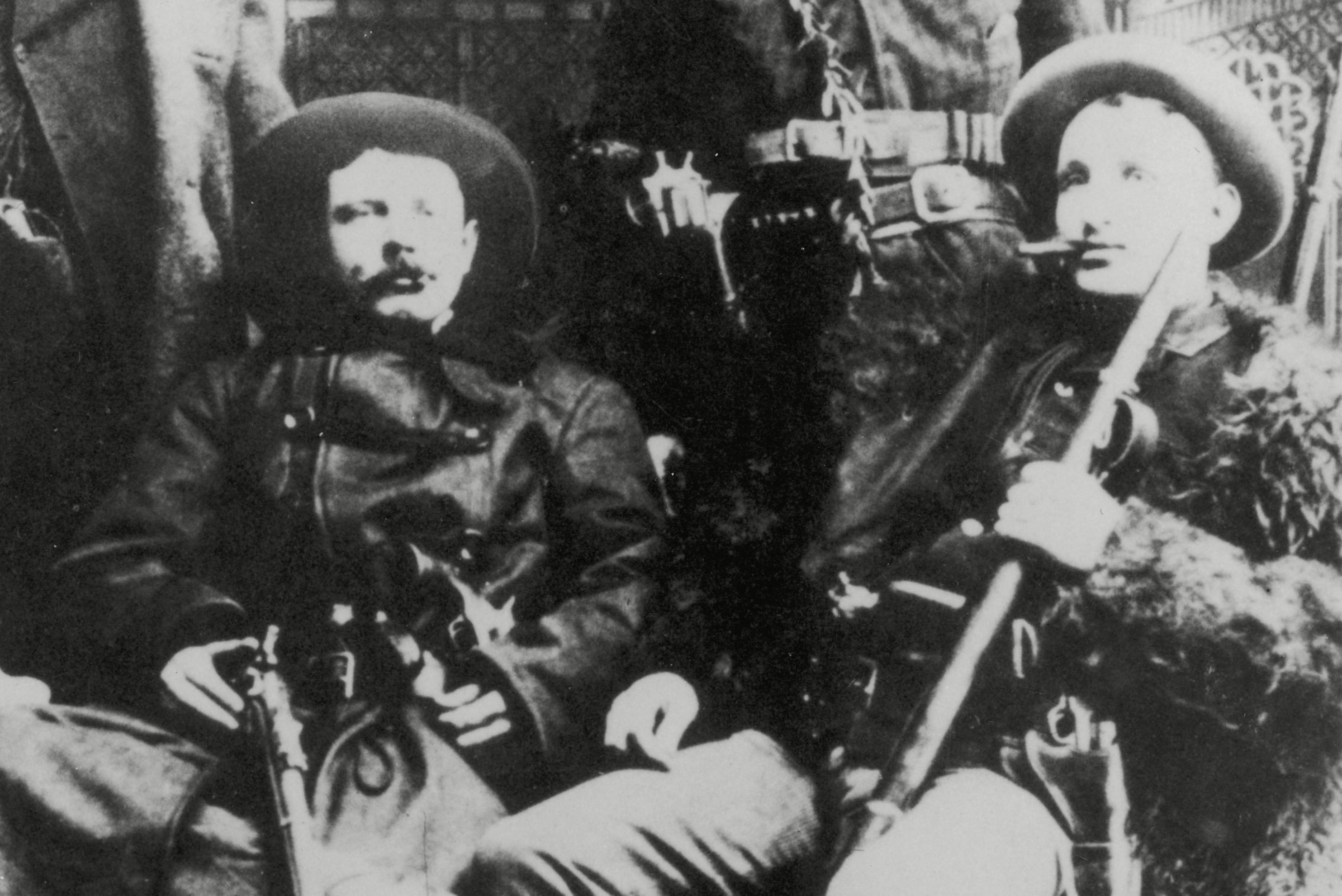 Mandatory Credit: Photo by Historia/Shutterstock (7665005hy) The James-younger Gang (l-r): Cole Younger Jesse James Bob Younger Frank James circa 1870 Historical Collection 111