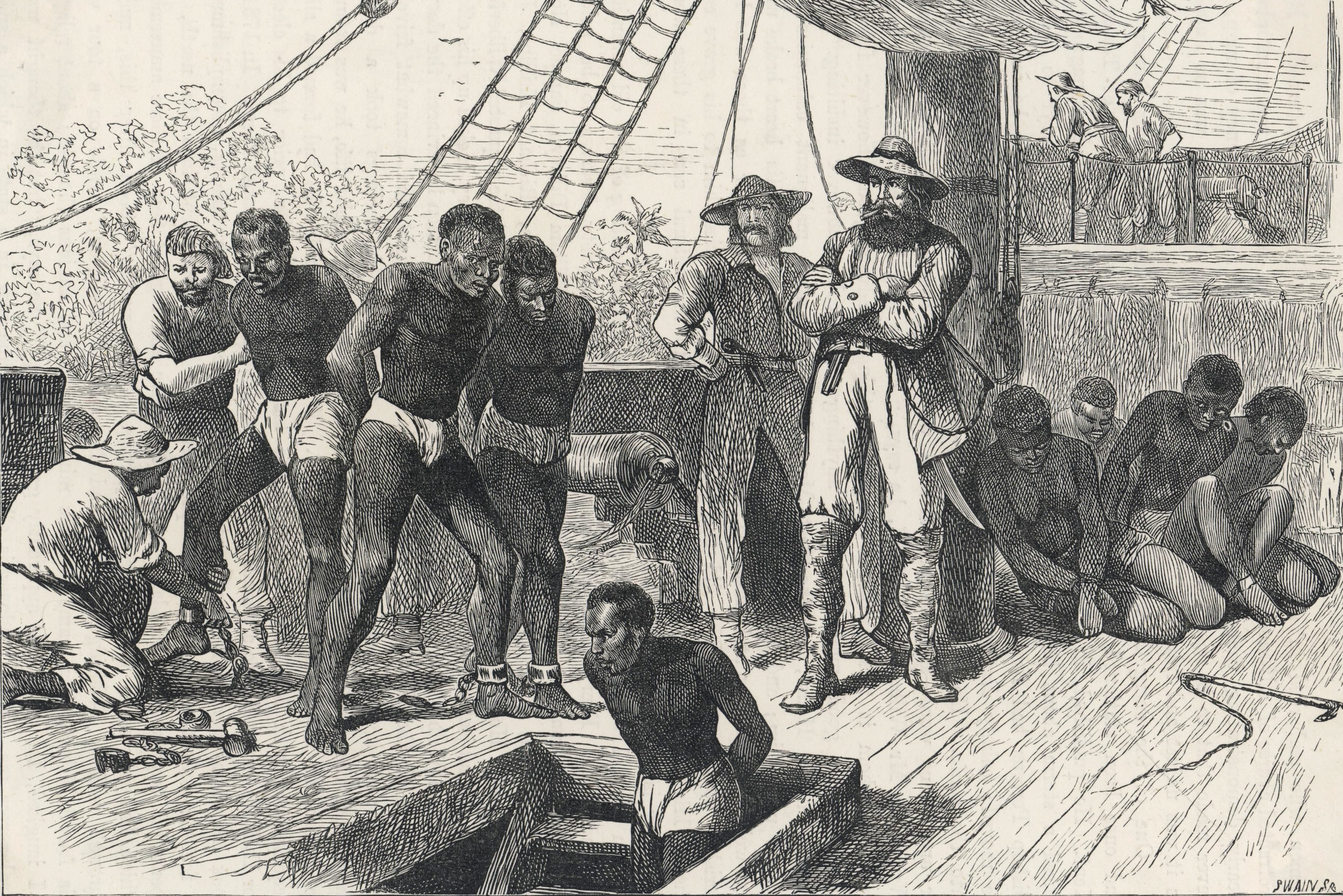 Mandatory Credit: Photo by Historia/Shutterstock (7665129mc) Taking African Slaves On Board A Slave Ship circa 1830 Historical Collection 6