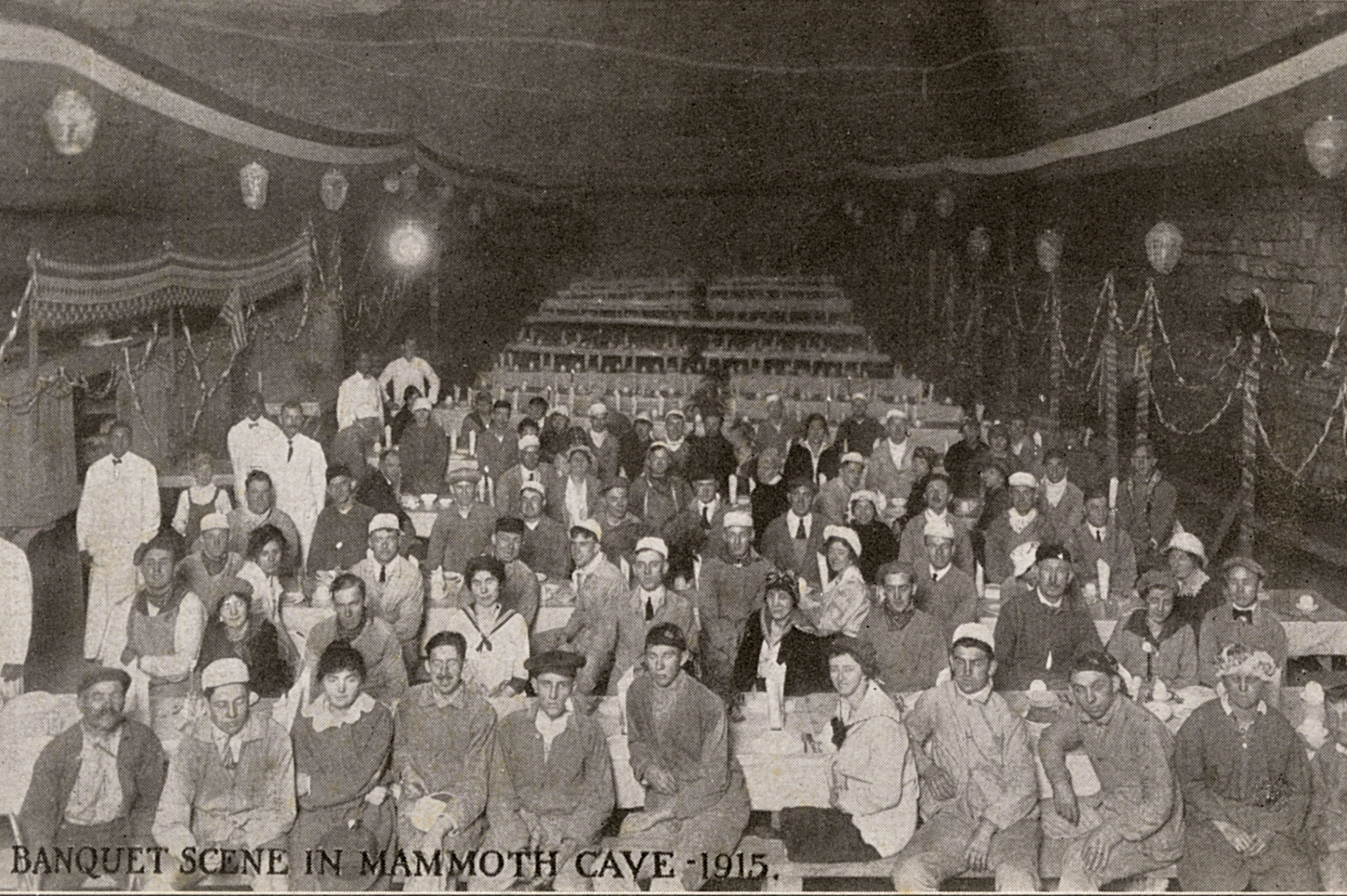 Mandatory Credit: Photo by Historia/Shutterstock (9822774a) Banquet Scene in Mammoth Cave in Mammoth Cave National Park Kentucky Usa. the Underground Dining Room Was Able to Seat 500 People. . Unattributed Postcard Banquet in Mammoth Cave, Kentucky, Usa, 1915