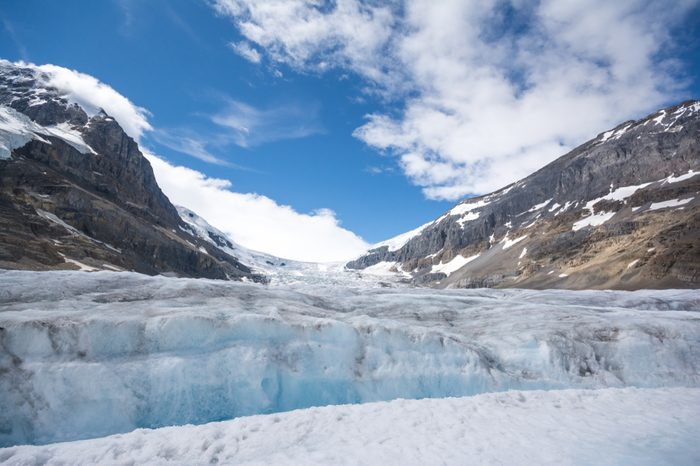 A close look of Athabasca Glacier at columbia icefield along the icefield parkway at Jasper National Park alberta Canada