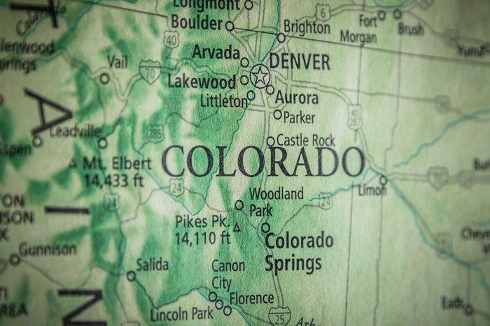 Closeup Selective Focus Of Colorado State On A Geographical And Political State Map Of The USA.