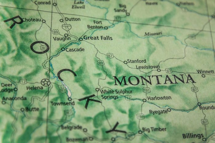 Closeup Selective Focus Of Montana State On A Geographical And Political State Map Of The USA.