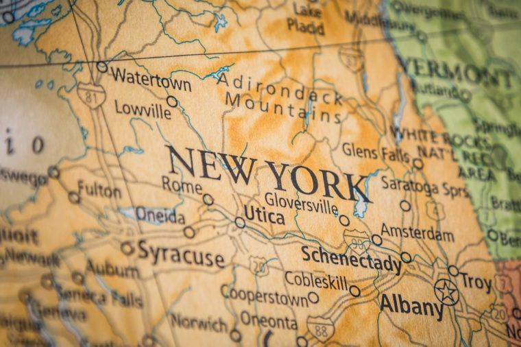 Closeup Selective Focus Of New York State On A Geographical And Political State Map Of The USA.