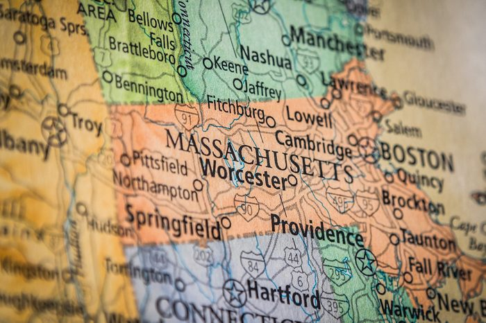 Closeup Selective Focus Of Massachusetts State On A Geographical And Political State Map Of The USA.