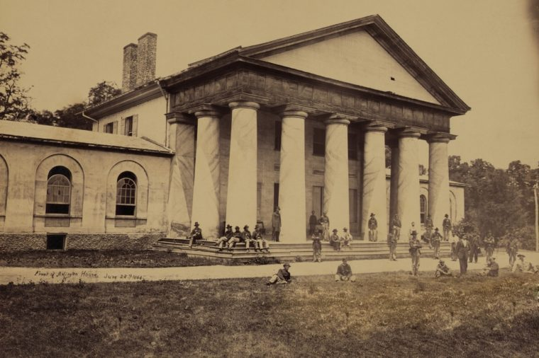 Arlington House, now a National Park Service Memorial to Robert E. Lee, was on the line of fortifications guarding Washington during the Civil War. Andrew Russell photograph.