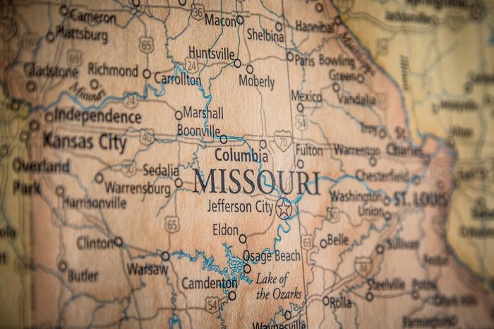 Closeup Selective Focus Of Missouri State On A Geographical And Political State Map Of The USA.