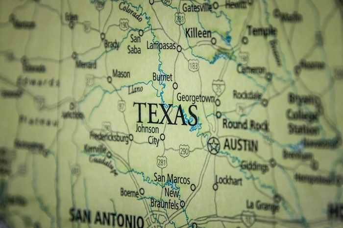 Closeup Selective Focus Of Texas State On A Geographical And Political State Map Of The USA.