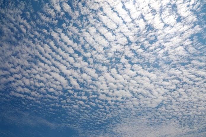 Cirrocumulus Cloud in blue sky on sunny peaceful day.