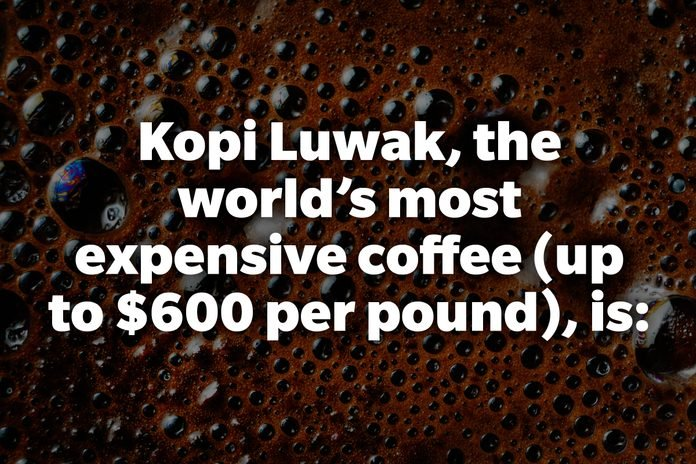 Kopi Luwak, the world's most expensive coffee (up to $600 per pound), is: