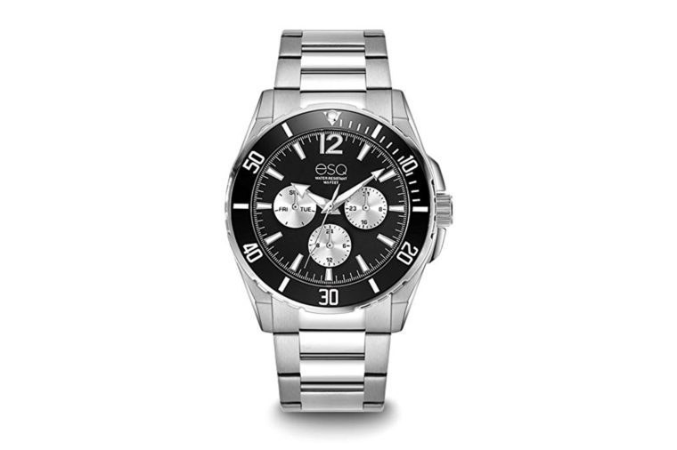 ESQ E242 Stainless Steel Multi-Function Bracelet Watch with Black Dial