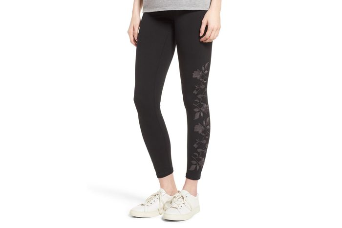 Floral Embroidered Ankle Leggings