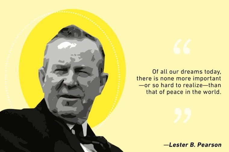 lester b pearson illustration and quote text