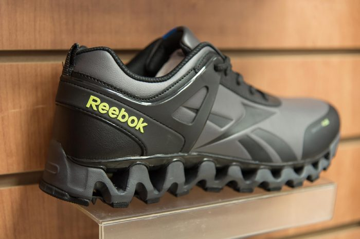 Close-up Reebok logo on shoe