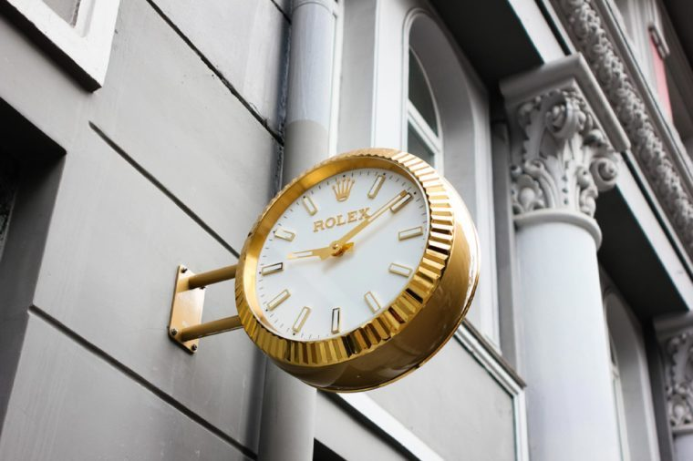 Rolex clock on the store. Rolex is one of the famous luxury watch brand in the world