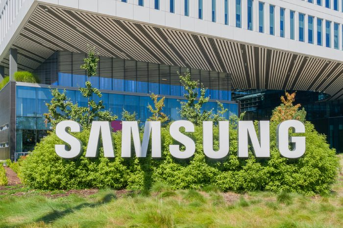Samsung Corporate facility and logo. Samsung s a South Korean multinational conglomerate.