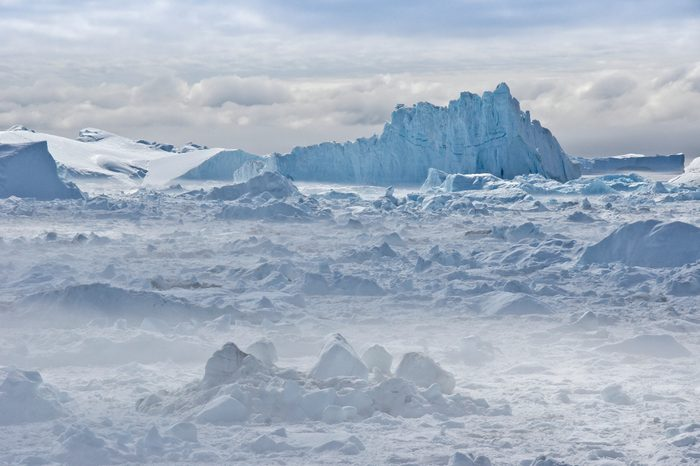 Icebergs piled up in the icefiord, calved from Sermeq Kujalleq glacier, Ilullisat, Disko Bay, West Greenland