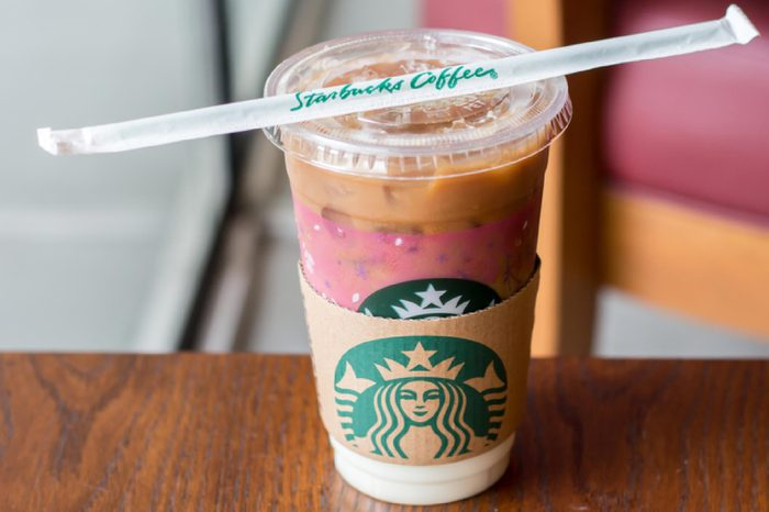 Starbucks sign, Iced Caramel Macchiato. This branch is located in BEEHIVE Lifestyle Mall, Nonthaburi, TH