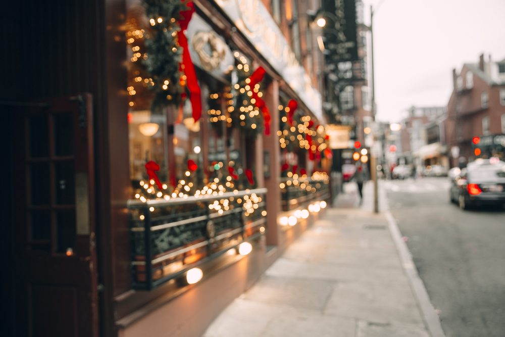 Christmas lights, Christmas decorations on the street. blurred background city street with Christmas illuminations. Copy space for your text