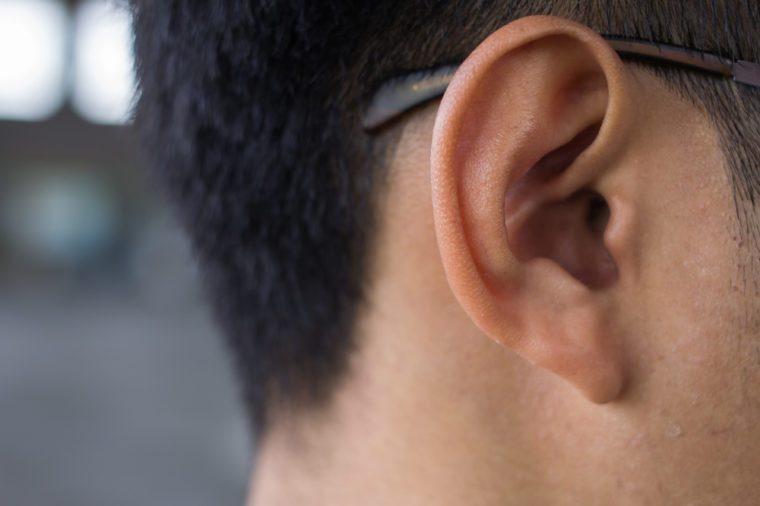 Close up of man ear