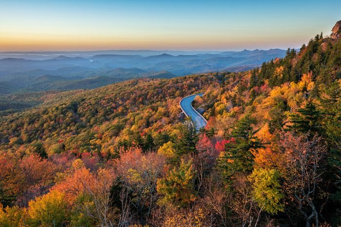 Lynn Cove Viaduct snakes along the side of Grandfather Mountains along the Blue Ridge Parkway in North Carolina
