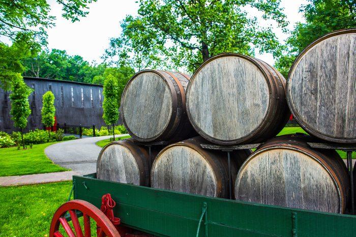 Bourbon barrels on an antique wagon in Kentucky.