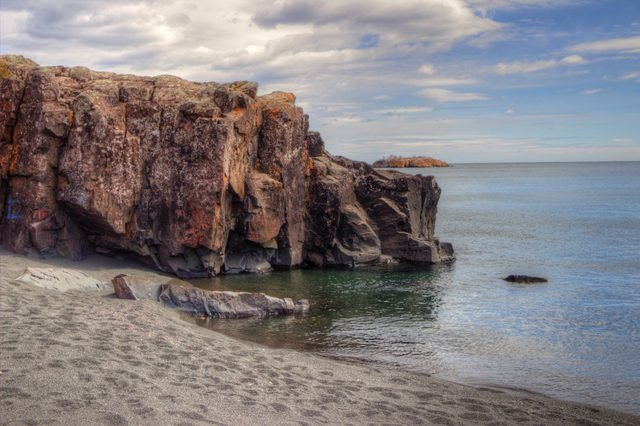 Black Beach is on the Northern Shore of Lake Superior by Silver Bay made of leftover Taconite Byproducts