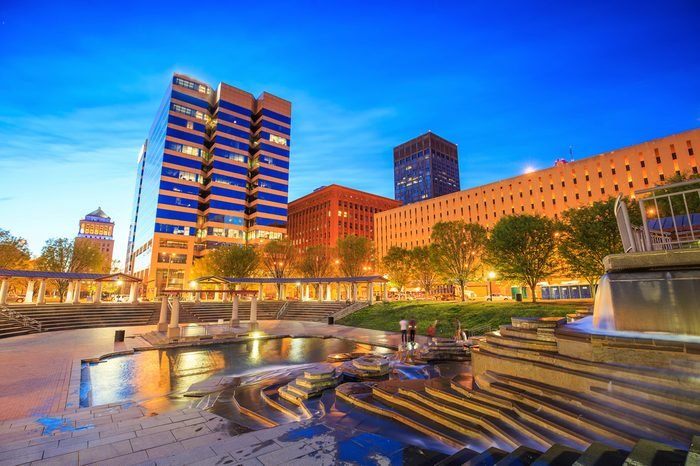 Public Citygarden in downtown st. louis at twilight