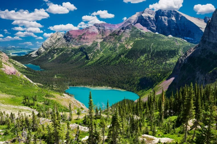 Breathtaking view of a chain of glacial lakes from atop the Grinnell Glacier Trail in Montana
