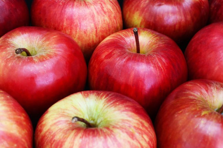 Closeup with selective focus of fresh red apples
