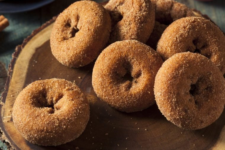 Homemade Sugared Apple Cider Donuts with Cinnamon