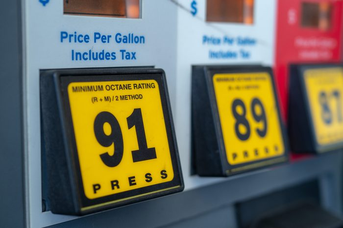 Some self-serve gas station fuel options with 91 octane mainly featured