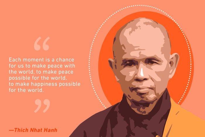 thich nhat hanh illustration and quote text