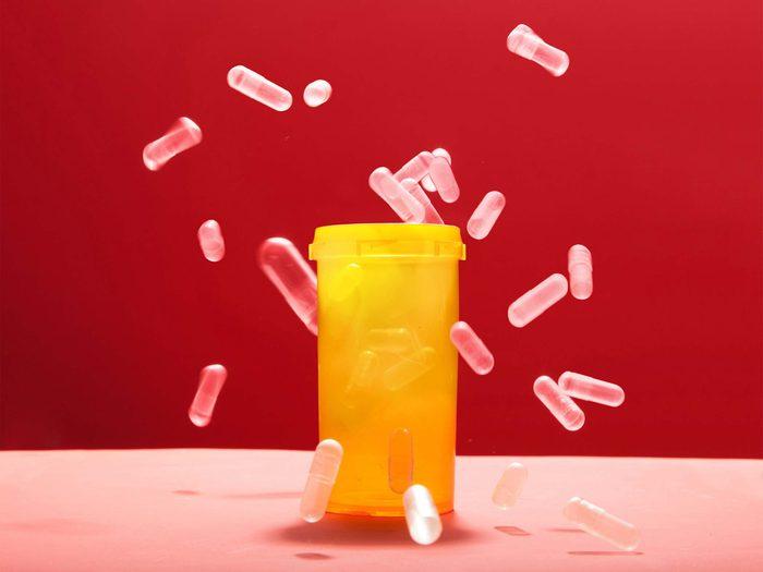 pills falling in bottle