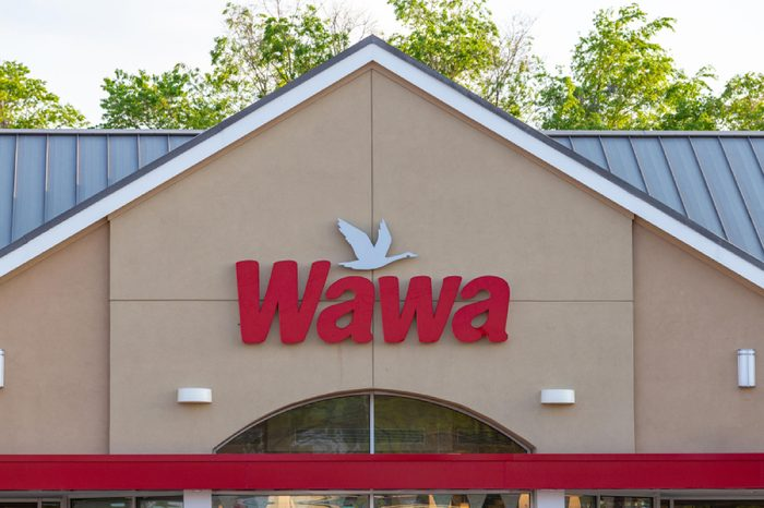 Exterior sign of WaWa, a chain of fast food, gas, and convenience stores, which has over 750 locations.