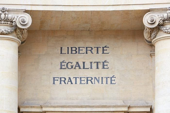 Liberty, Equality, and Fraternity words in Paris, the motto of the French Revolution
