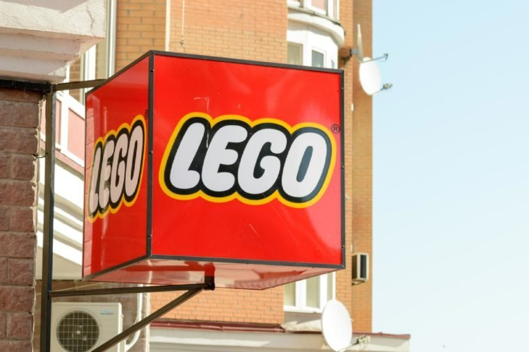 A big cubic Lego singboard on a shop in the Kiev's district named Obolon