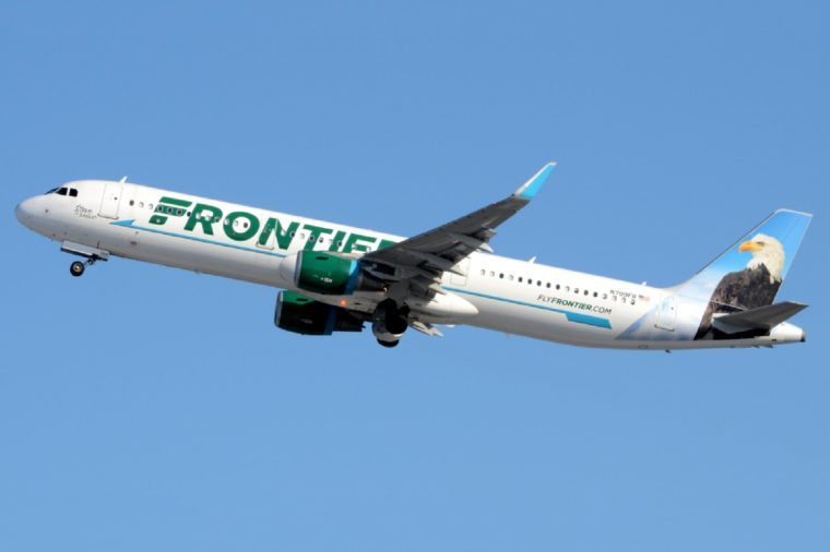 """A Frontier Airlines Airbus A321, Nicknamed """"Steve the Eagle"""", Takes Off from Philadelphia International Airport with its Red Beacon Light Flashing"""