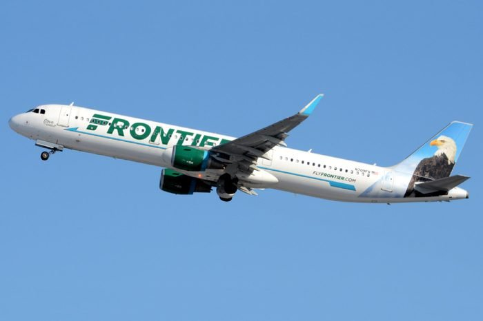 "A Frontier Airlines Airbus A321, Nicknamed ""Steve the Eagle"", Takes Off from Philadelphia International Airport with its Red Beacon Light Flashing"