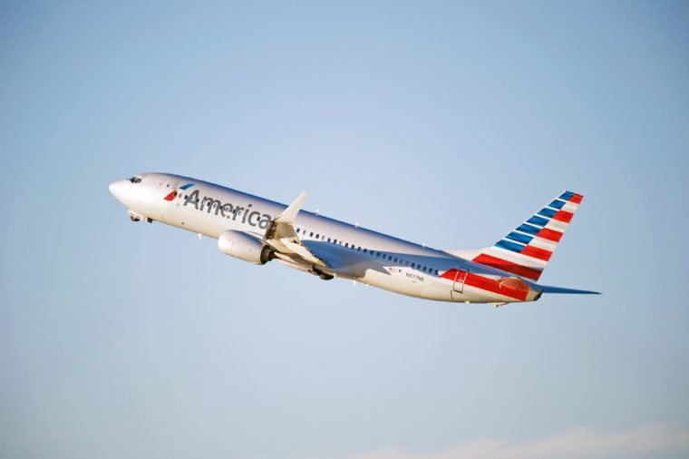 American Airlines Boeing 737-823(WL) aircraft is airborne as it departs Los Angeles International Airport, Los Angeles, California USA