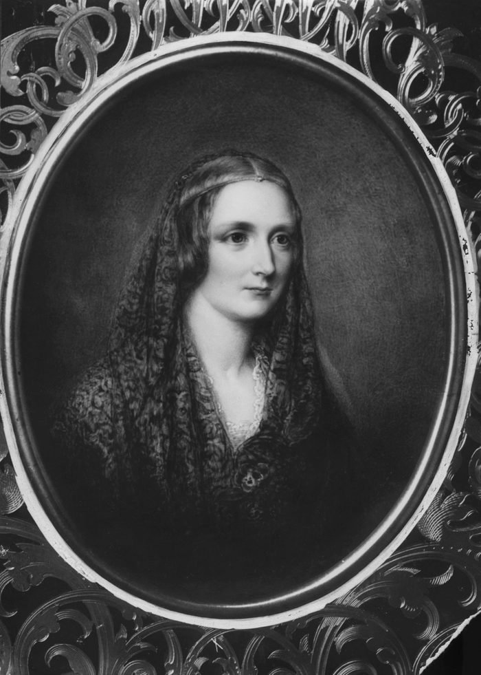 Art (Portrait) - various Portrait of Mary Shelley née Mary Wollstonecraft Godwin 1797-1851, writer and wife of Percy Bysshe SHELLEY, wearing mantilla by anon artist date unknown