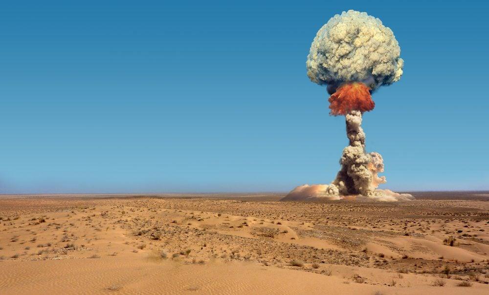 Explosion of bomb atomic.