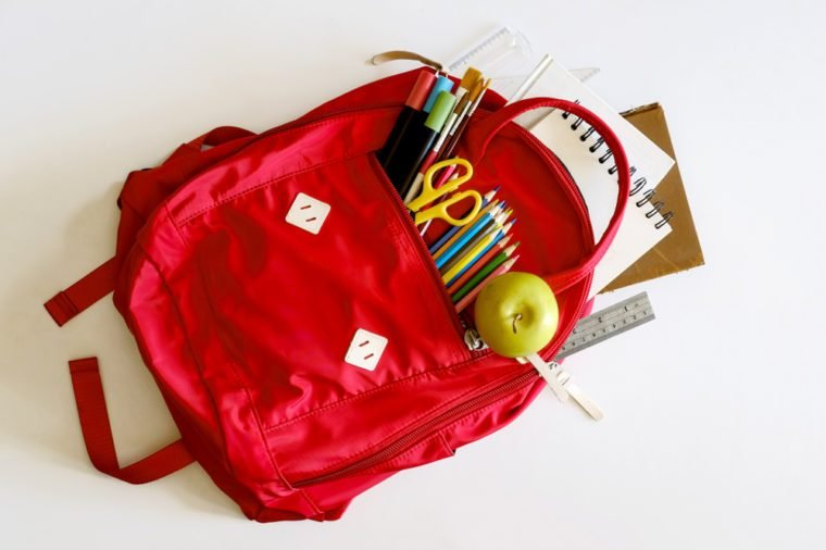 Backpack with school supplies spilling out. Back to School Supplies