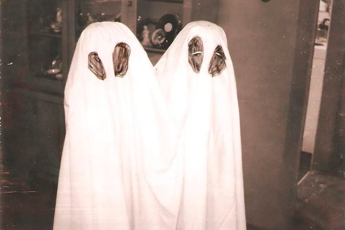 Bill Herzog's son, Don, in a two-headed ghost costume