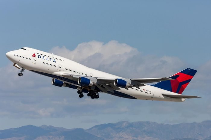 Delta Air Lines Boeing 747 Jumbo Jet taking off from Los Angeles International Airport.