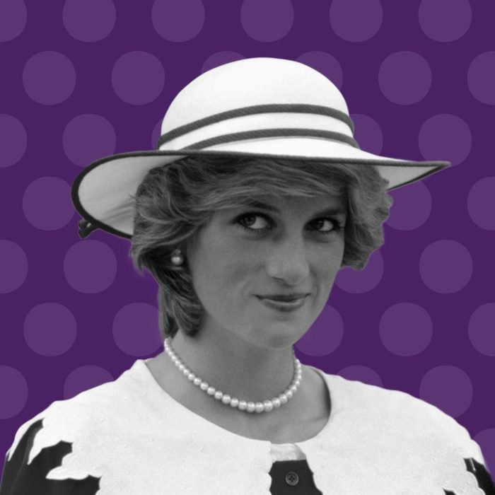 Diana, Princess of Wales on purple background with purple polka dots