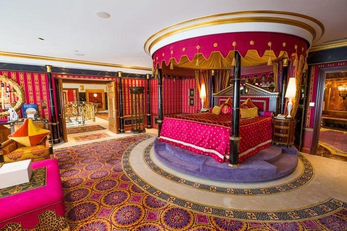 Dubai, UAE - FEBRUARY 18, 2018: Burj Al Arab royal suite. Interior of Burj Al Arab famous Dubai hotel. 7 star luxury hotel. Dubai symbol. Iconic the most luxurious hotel in the world. Luxury bedroom.