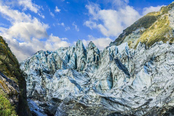 Terminal face of Fox Glacier, New Zealand.