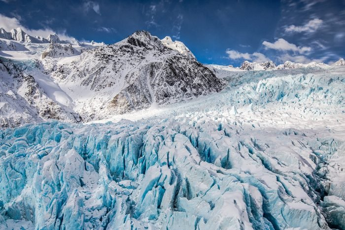 View of Franz Josef Glacier, New Zealand from a helicopter.