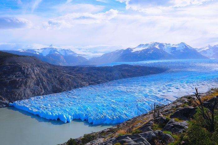 Grey glacier at evening time. Torres del Paine National park. Chile.